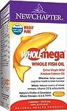 New Chapter Fish Oil Supplement - DHA (Docosahexaenoic Acid) 220 mg, Wholemega Wild Alaskan Salmon Oil with Omega-3 + Vitamin D3 + Astaxanthin + Sustainably Caught - 60 Count (2 Box)