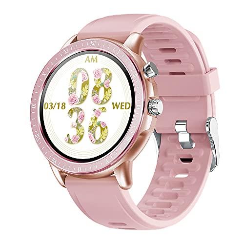 DADAS Smart Watch Men's y Women's Watch 1.3 Pulgadas Pantalla táctil Watch Smart Watch Monitor de frecuencia cardíaca, Pedómetro Actividad Tracker Sleep Monitor,Gold Pink