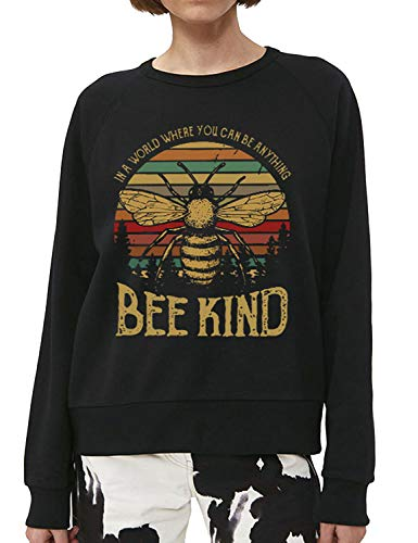 Dresswel In A World Where You Can Be Anything Bee Kind Sweatshirt Damen Pullover Rundhals Langarmshirt Oberteile Langarm T-Shirt Hemd Bluse