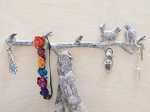 [Mother's Day Gift] Cast Iron Birds On Branch Hanger With 6 Hooks | Decorative Cast Iron Wall Hook Rack | For Coats, Hats, Keys, Towels, Clothes | 18.5x2x4.5� - With Screws And Anchors (Antique White)