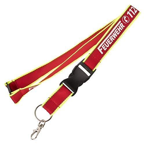 Schlüsselband Lanyard Keyholder Schlüsselanhänger rot/Neongelb mit nachleuchtendem Aufdruck Feuerwehr 112 und Silber reflektierenden Nähten 90cm Länge 25mm breit