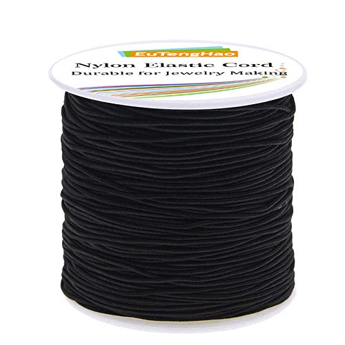 EuTengHao 1.5mm Nylon Elastic Cord for Bracelet Black Satin Nylon Decorative Cord Nylon Hand Knitting Cord String Beading Thread Bracelet Rope for Necklace Bracelet Jewelry Making (55Yards/1.5mm)