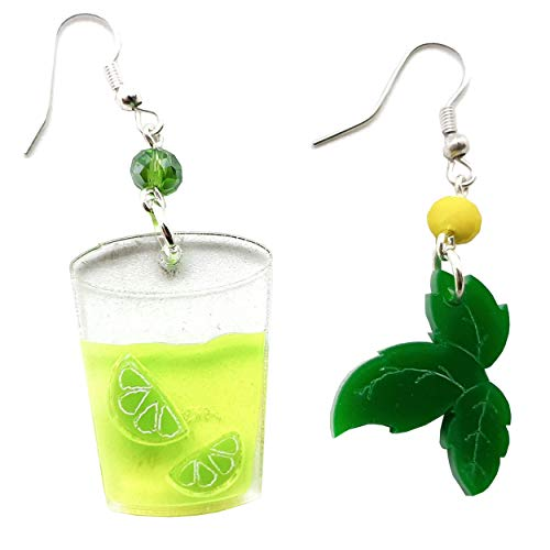 VIALESCARPE - Arky Fly handmade pendant earrings in colored plexiglass, laser worked, Mojito. Woman; Yellow and green; UNI