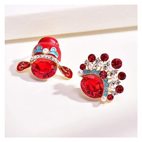 LDH Pendientes Rojos Femenino Pekín Opera Mascarilla Novia Artificial Cristal Pendientes Temperamento Retro Perla Artificial Pendientes Asimétricos