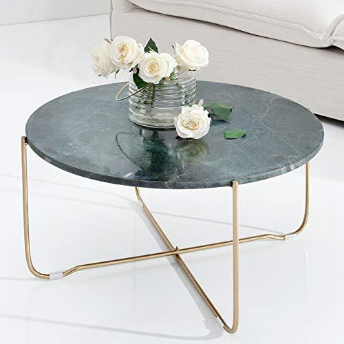 cagü: Design Couchtisch [FLORENTIN] Grün aus Marmor mit Gold Gestell 62cm Durchmesser