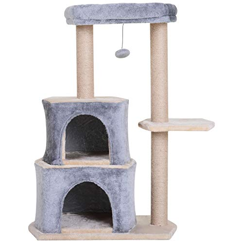 Pawhut Rascador para Gatos Árbol Rascador Grande Centro de Actividad Plataforma 2 Caseta Sisal Natural 60x40x92cm
