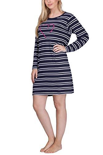 Moonline Damen Nachthemd kurz Sleepshirt aus 100% Baumwolle von Größe S - 4XL, Farbe:Navy, Größe:48-50