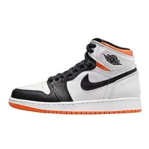 Jordan Nike Unisex Air 1 High Retro (GS) Sneaker, Kids, White/Electro Orange/Black, 6.5Y M US