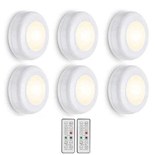 Luces para debajo del gabinete, 6 unidades, RGB inalámbricas, luces LED de 16 colores, funciona con pilas, control remoto ambiental, luz nocturna, ideal para cocina, armario, armario