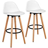 COSTWAY Bar Stools Set of 2, Modern Armless Kitchen Stool with Soft PU Leather Seat, Bar Height Stool with Round Metal Footrest & Comfortable Curved Backrest for Home, Dining Hall (White, 2)