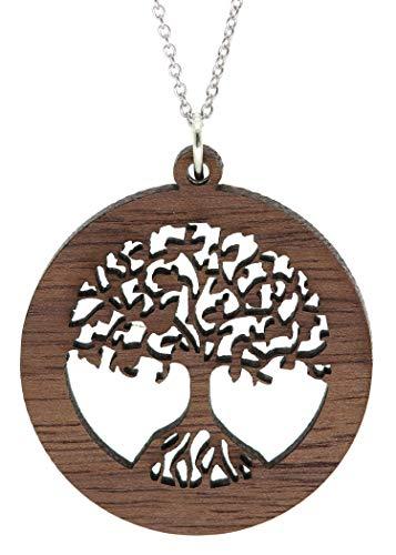 NaturSchatulle Kette mit Anhänger Lebensbaum Holz I Halskette Holzanhänger Baum des Lebens Silber 925 Halskette Damen Kettenanhänger Holz Holzschmuck Charms 50cm
