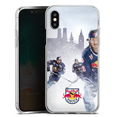 DeinDesign Silikon Hülle kompatibel mit Apple iPhone X Case transparent Handyhülle EHC Red Bull München Offizielles Lizenzprodukt Eishockey