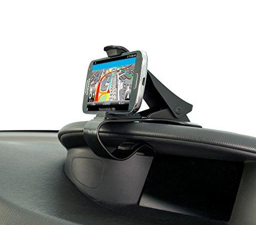 Lescars Kfz Halterung: Universelle Smartphone-Clip-Halterung fürs Armaturenbrett, bis 9 cm (Klemmhalterung)