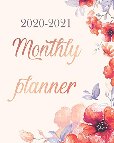 Monthly Planner 2020-2021: Watercolor Bloom, 24 Months Academic Schedule With Insporational Quotes And Holiday.