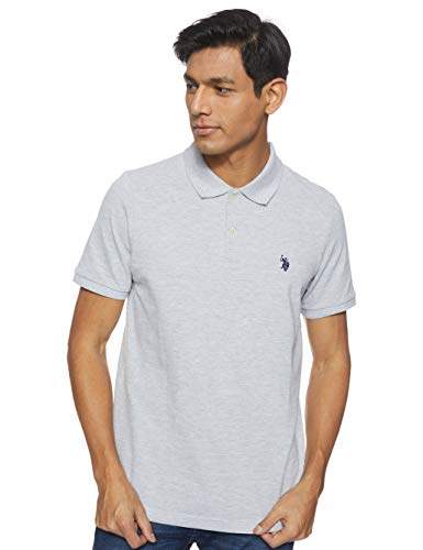 U.S. Polo Assn. Mens Classic Small Pony Solid Pique Polo Shirt - Light Heather Gray, Large