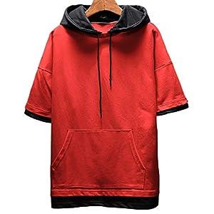 JHIJSC パーカー メンズ 半袖 無地 夏 tシャツ ゆったり 薄手 おしゃれ おおきいサイズ (レッド, XL)