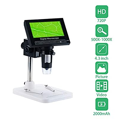 LCD Digital Microscope, Pevor 4.3 inch 500X-1000X Magnification USB Microscope Magnifier with 8 Adjustable LED Light Rechargeable Handled Microscope Camera for Children, Lab, Edu, Naturalist