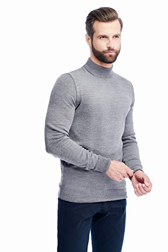 Men's Merino Wool Mock Turtleneck Sweater Classic Midweight Long Sleeve Pullover (Grey, Medium)