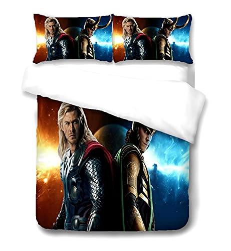 ZGGJZJ Loki - Set copripiumino Tom Hiddleston, biancheria da letto Supereroe, mitologia nordica Dio dell'Unfugs, 3 pezzi (loki 2,200 x 200 cm + 50 x 75 cm x 2)