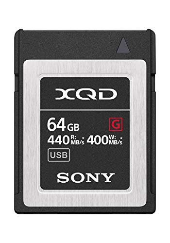 Sony professional xqd g series 64gb memory card (qd-g64f/j) 1 maximum read 440mb/s, and max write 400mb/s2 both pci express gen2 interface and usb 3. 0 (super speed) are supported for higher performance and easy connection to pcs. High speed burst shooting with dslr cameras
