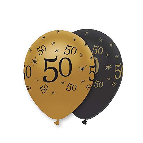 Creative Party 50Th Lot de 6 ballons Noir/doré