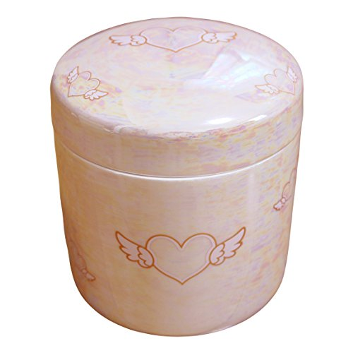 ペット骨壷 5寸 エンジェルハート パールピンク カロート 国産 手作り かわいい骨壷