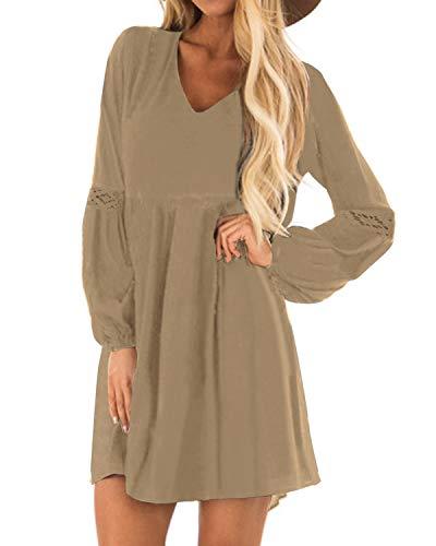 YOINS Sexy Kleid Damen Sommerkleid für Damen Babydoll Kleider Brautkleid Tshirt Kleid Rundhals Langarm Minikleid Langes Shirt Lose Tunika Strandkleid Baumwolle-Khaki EU36-38