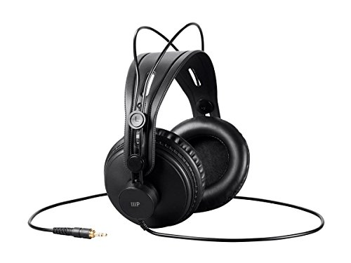 Monoprice - 116150 Modern Retro Over Ear Headphones with Ultra-Comfortable Ear Pads Perfect for Mobile Devices, HiFi, and Audio/Video Production Black