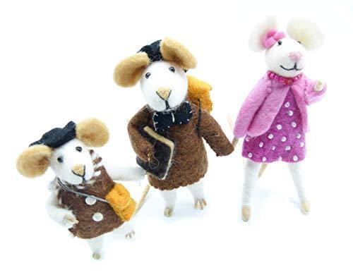 feelz - Figur Maus Dekofiguren Mäusefamilie Filzmaus Mäuse Figuren Handarbeit aus Filz - Fairtrade