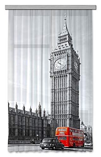 AG Design FCSL 7528 Tenda London Gardine/Vorhang, Stoff, Mehrfarbig, 140 cm x 245 cm