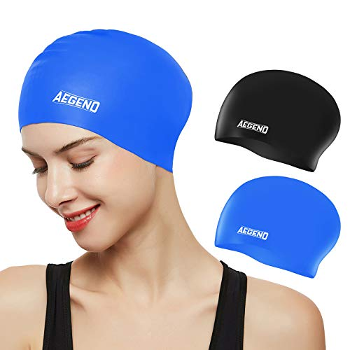 Aegend Swim Caps for Long Hair (2 Pack), Durable Silicone Swimming Caps with Spacious Space for Women Men Adults, Easy to Put On and Off, Black Blue