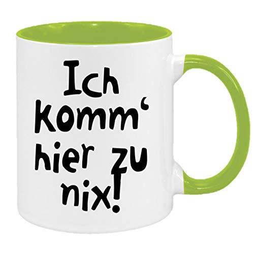 Ich komm' Hier zu nix… - Tasse mit Spruchmotiv (hellgrün)