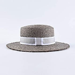 Lafite Straw hat Female Flat Sunscreen Visor Men's Flat top Sun hat Beach hat` TuanTuan (Color : Grey)