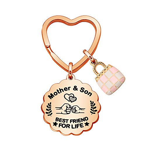IUYJVR Mum Keychain Rings Cute Bag Charm Keyring Mothers Key Chain from Son Mom Best Friend for Life Cute Key Accessory (Rose Gold)