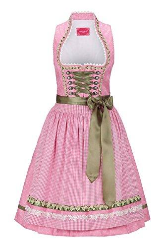 Krüger® Dirndl Damen Mini Dirndl 60er rosa grün Lotta 132006, Größe 36