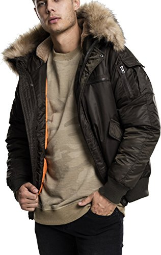 Urban Classics Herren Hooded Heavy Fake Fur Jacket Bomber Jacke, Grün (Darkolive 551), X-Large