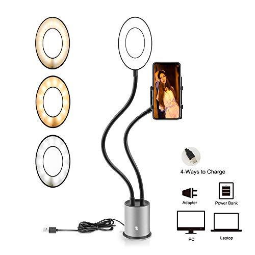 Phayee Selfie Ringlicht met standaard voor mobiele telefoon, multifunctioneel, vullicht, mobiele telefoonhouder, zelfontspanner, live art-fact, voor make-up, selfie