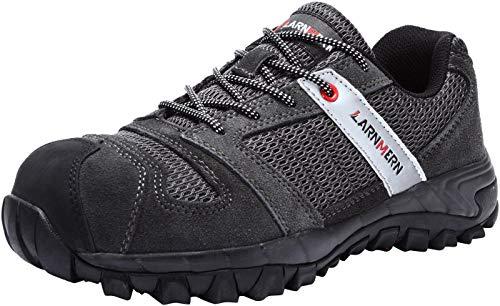 LARNMERN Sicherheitsschuhe Herren,LM-18 Arbeitsschuhe Stahlkappe Stahlsohle Anti-Rutsch Industrie und BAU Schuhe Atmungsaktiv Komfortabel(47 EU,Grau)