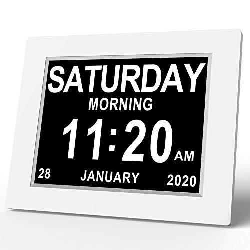 SVINZ - Reloj de día con Marco de Fotos Digital, tamaño Extra Grande, no abreviado, Color Blanco, 8