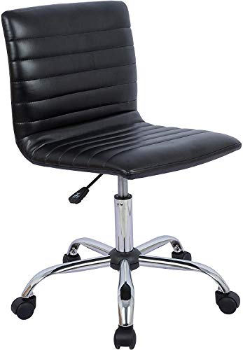 Home Office Chair, Computer Chair Adjustable Height Ribbed Low Back Armless Swivel Conference Room Task Desk Chairs, Black