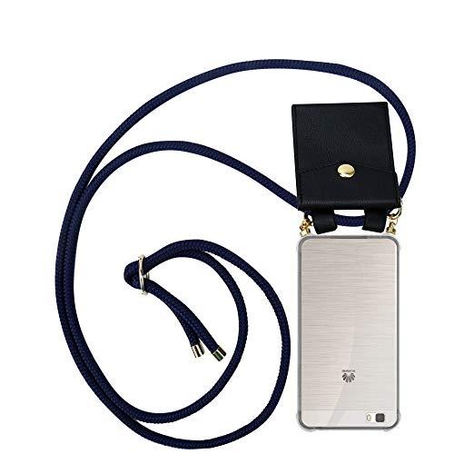Cadorabo Funda con Cuerda para Huawei P8 Lite 2015 en Azul ÍNDIGO – Cubierta Protección Collar para Colgar di TPU Silicona Transparente con Anillos OROS, Cordon y Estuche Removible