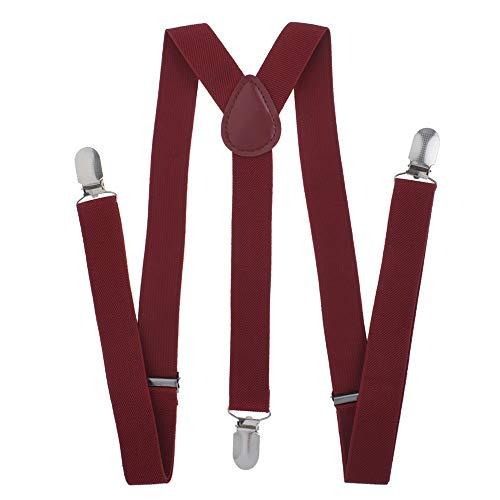 TOPTIE unisexe bretelles bretelles de couleur unie Y-Back Clip - 1 pouce de large - Bourgogne
