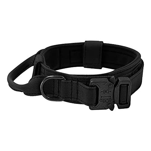 CJBIN Collar Perro Ancho, Negro Nailon Militar Ajustable Collar de Adiestramiento Para Perros con Mango de Control, Collar Para Perros Grandes Para Perros Medianos o Grandes (Código L)