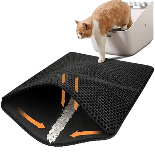 猫マット 猫砂マット 二重構造 EVA 猫砂取りマット 飛び散り防止マット 清潔簡単 防カビ防臭防水 軽量 掃除簡単 滑り止め 底部防水 猫トイレマット…