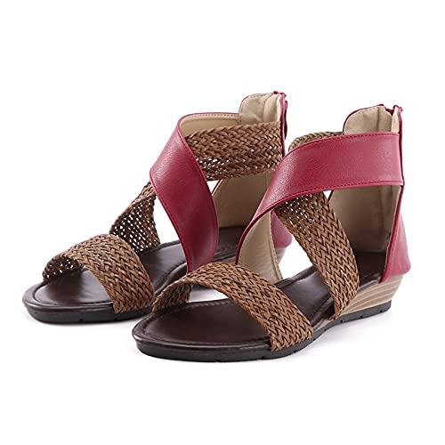 Orgrul Sandalias Mujer Verano 2021, Chanclas Mujer Verano Plana, Bohemia Sandalias Cómodo Casual Zapatos de Playa 35-42 EU 7EC (39, F)