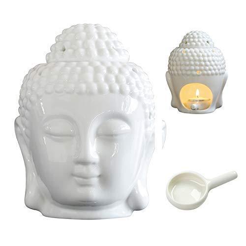 MEIRUIQI Wax Warmer Buddha Head Statue Essential Oil Burner Tart Burner Tealight Candle HolderTranslucent Ceramic for Great House Decoration (white)