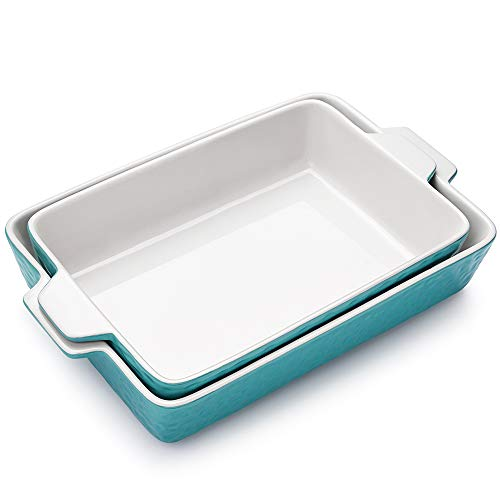 Bakeware Set, Krokori Rectangular Baking Pan Ceramic Glaze Baking Dish for Cooking, Kitchen, Cake Dinner, Banquet and Daily Use, 2 PCS (13 x 9 Inches, Aquamarine)