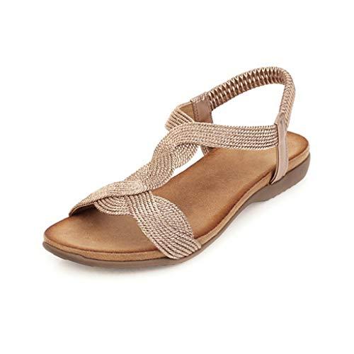 UMore Jeans Flat Sandal, Sandalias Punta Cerrada Mujer Sandalias Planas de Verano para Mujer Tanga Bohemia