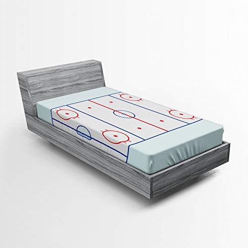 ABAKUHAUS Eishockey Spannbetttuch, Grafik-Feld Kontur, Soft Dekorativer Stoff Bettwäsche Rund-um Elastischer Gummizug, 90 x 200 cm, Blau, Rot, Hellblau
