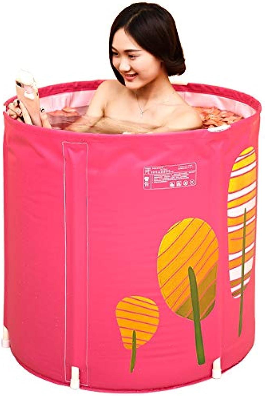 Vinteen Badewanne Erwachsene Bad Barrel Kunststoff verdicken Bad Barrel Falten Stapel Falten Badewanne Badewanne Bad Kind rot Keine Notwendigkeit, aufblasbare Badewanne
